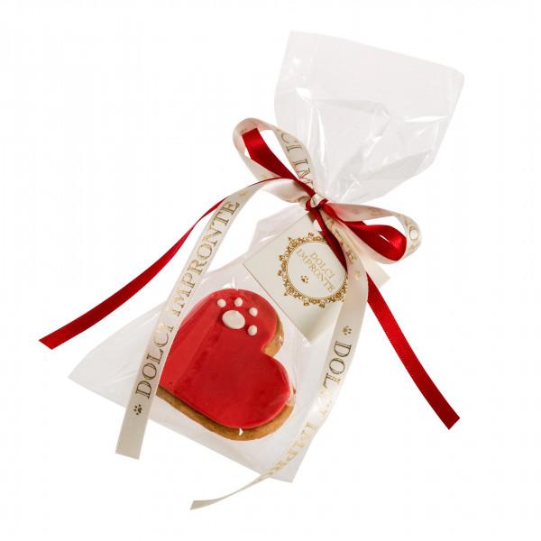 Dolcimpronte - Cuore rosso con zampina LOVE PAW RED - Confezione singola - 25 gr ( ASL Prot.0088901/16)