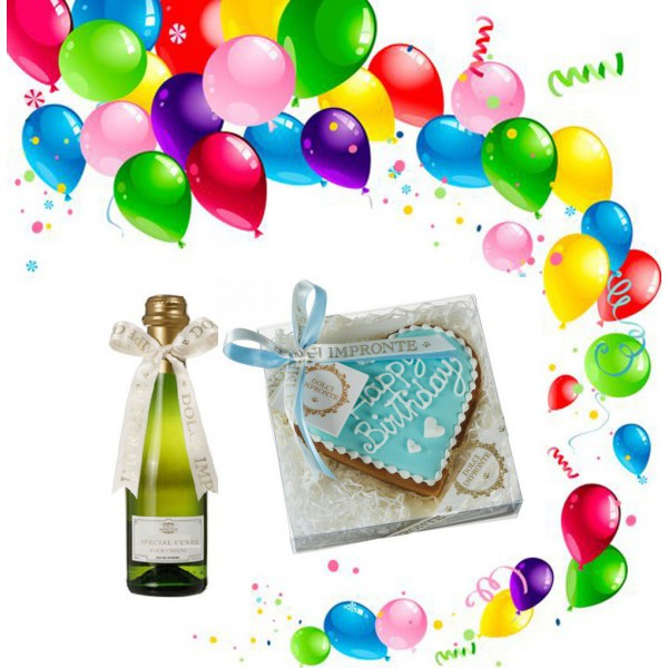 Dolci Impronte® - Birthday Set - Blue Heart Cake and Special Cuvee