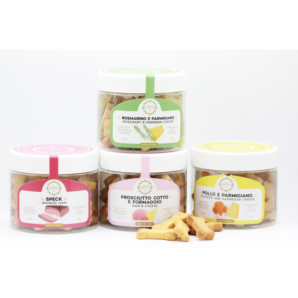 Dolci Impronte® - Pack of 4 Jars 170 gr Flavored Biscuits Mix Various Flavors